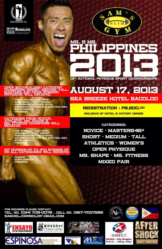 Bacolod City, Hosts to 2013 Mr. and Ms. Philippines (13th National Physique Sport Championships)